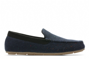 Clarks Mens Interior Cheer Navy Slippers